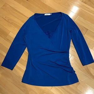 Ricki's 3/4 length blue dress top w lace- size M.